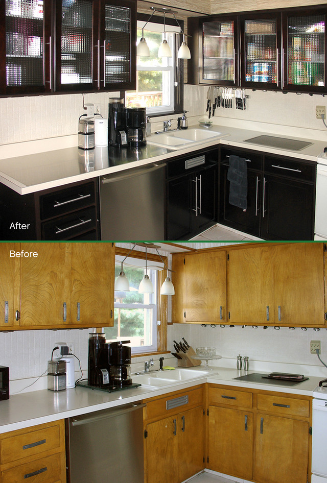 kitchen cabinet glass before and after
