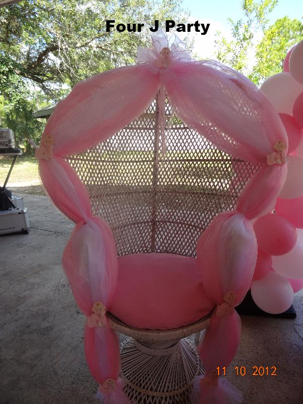 Baby Shower Pink And White With Flowers