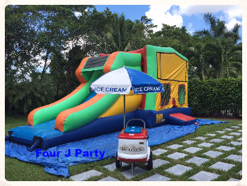 Party Rental Ice Cream Cart with a Bounce House rental