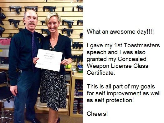 Stacey Pryor after receiving her CWP class certificate 2