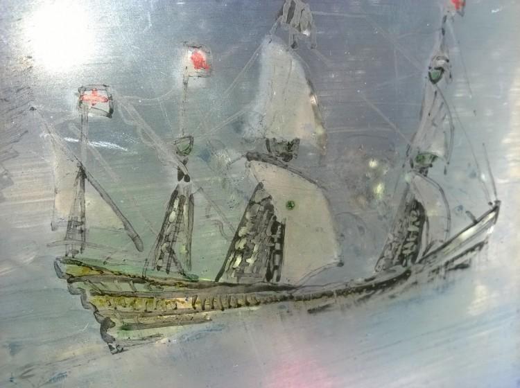 sailing ship, glass painting, British historic