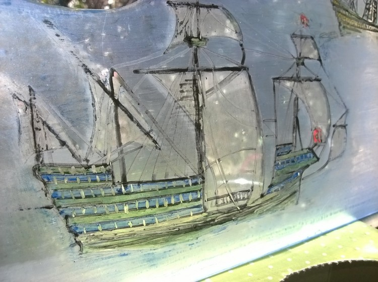 sailing ship glass painting portugese