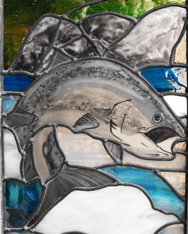 leaping salmon painting stained glass