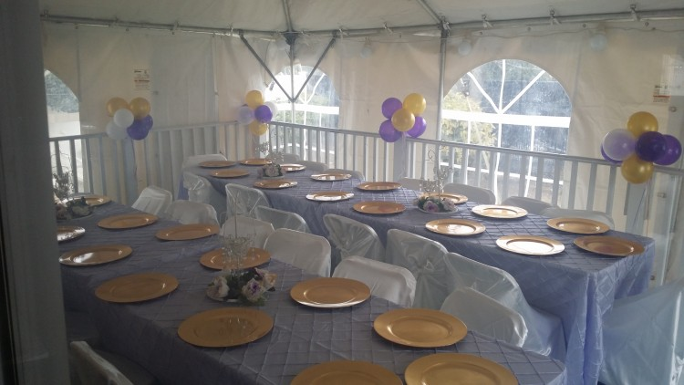 centerpieces used for purple and gold theme birthday party