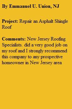 Roofing Repair Union NJ