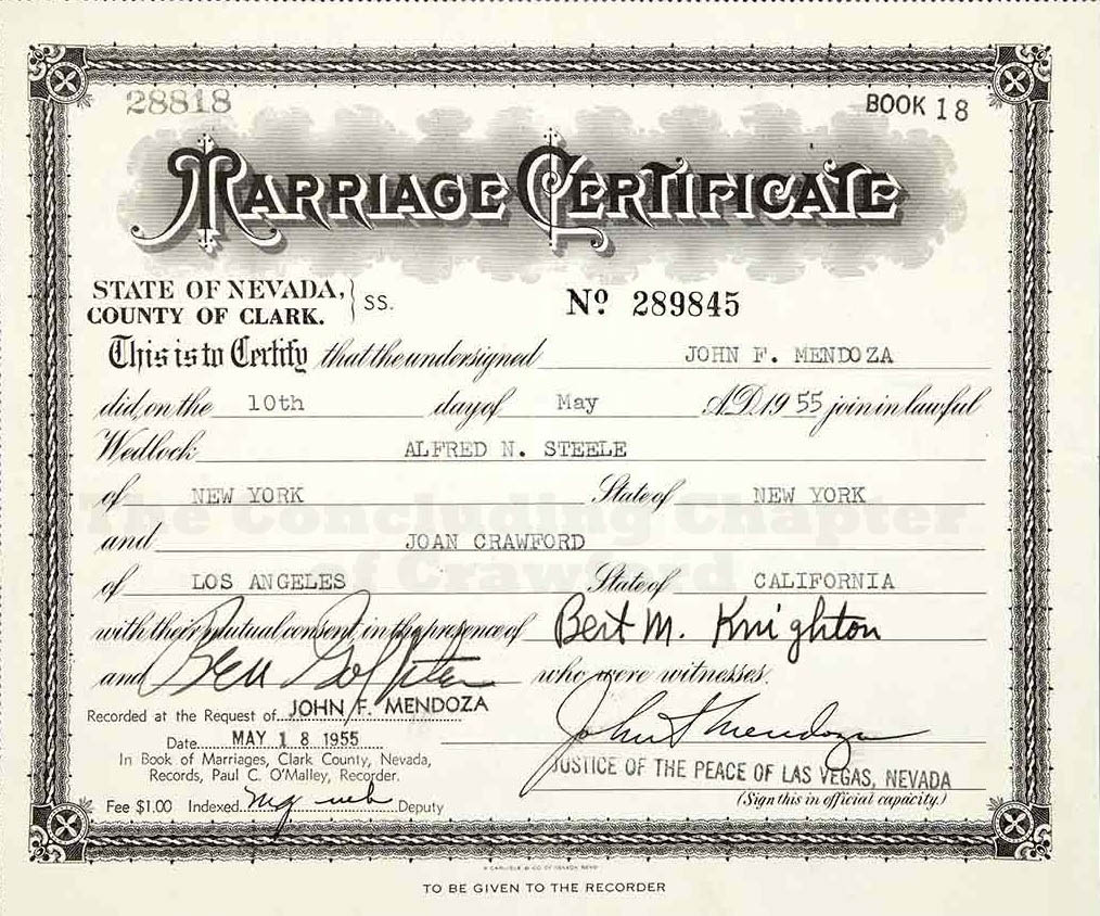 The concluding chapter of crawford the marriage certificate between joan and alfred steele 05101955 1betcityfo Gallery
