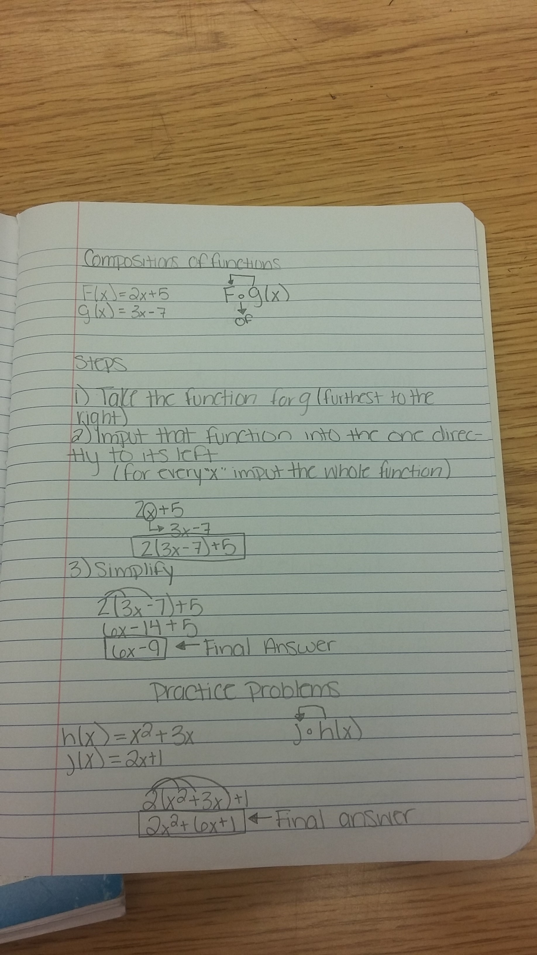 Classwork: Took Notes on Composition of Functions ...