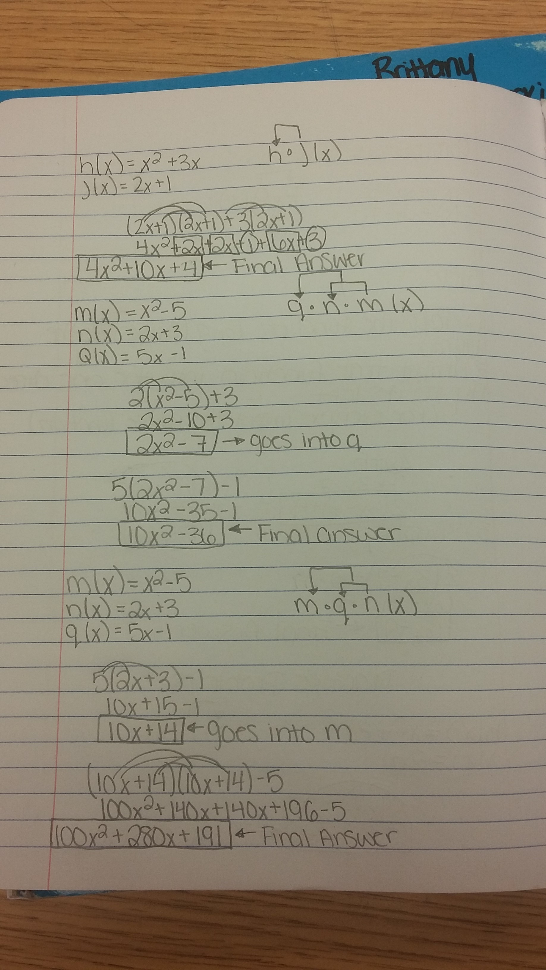 Classwork: Took Notes on Composition of Functions - Page 1 - Page 2
