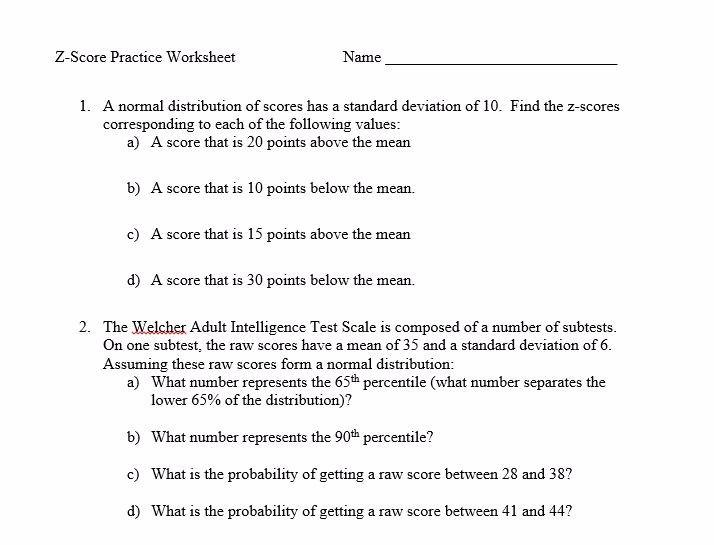 Honors PreCalc – Z Score Practice Worksheet