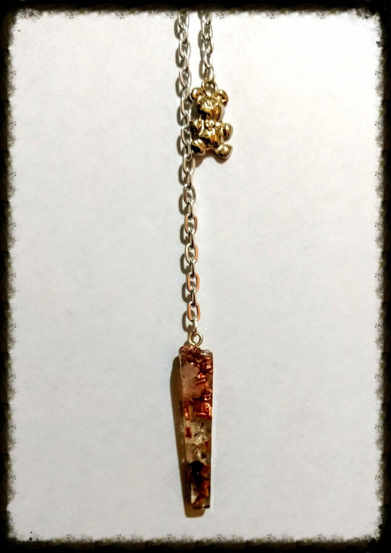 Pendulo Cuarzo Rosado, Cuarzo transparente, Ojo de Tigre y Cobre