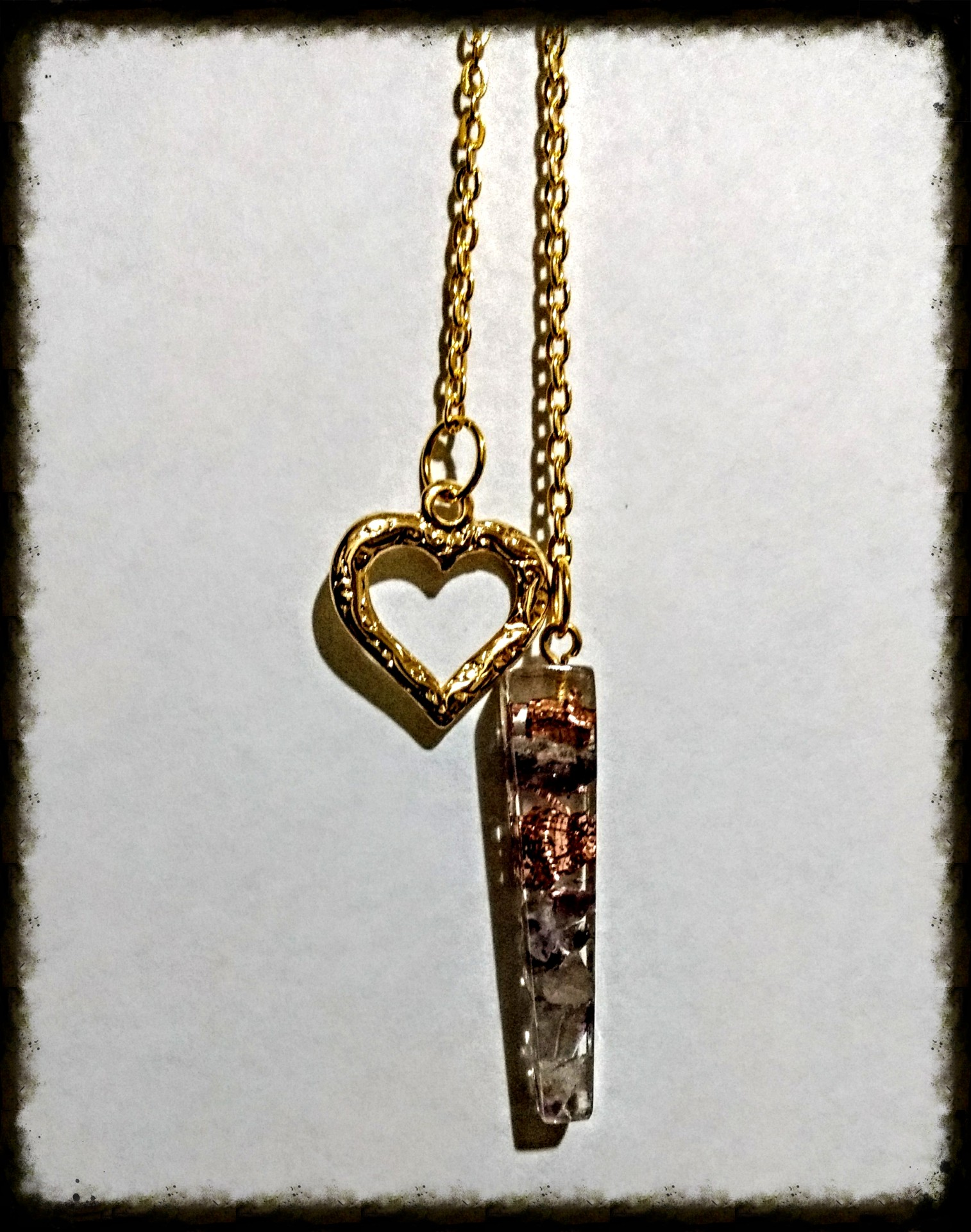 Pendulo Cuarzo transparente, Amatista y Cobre