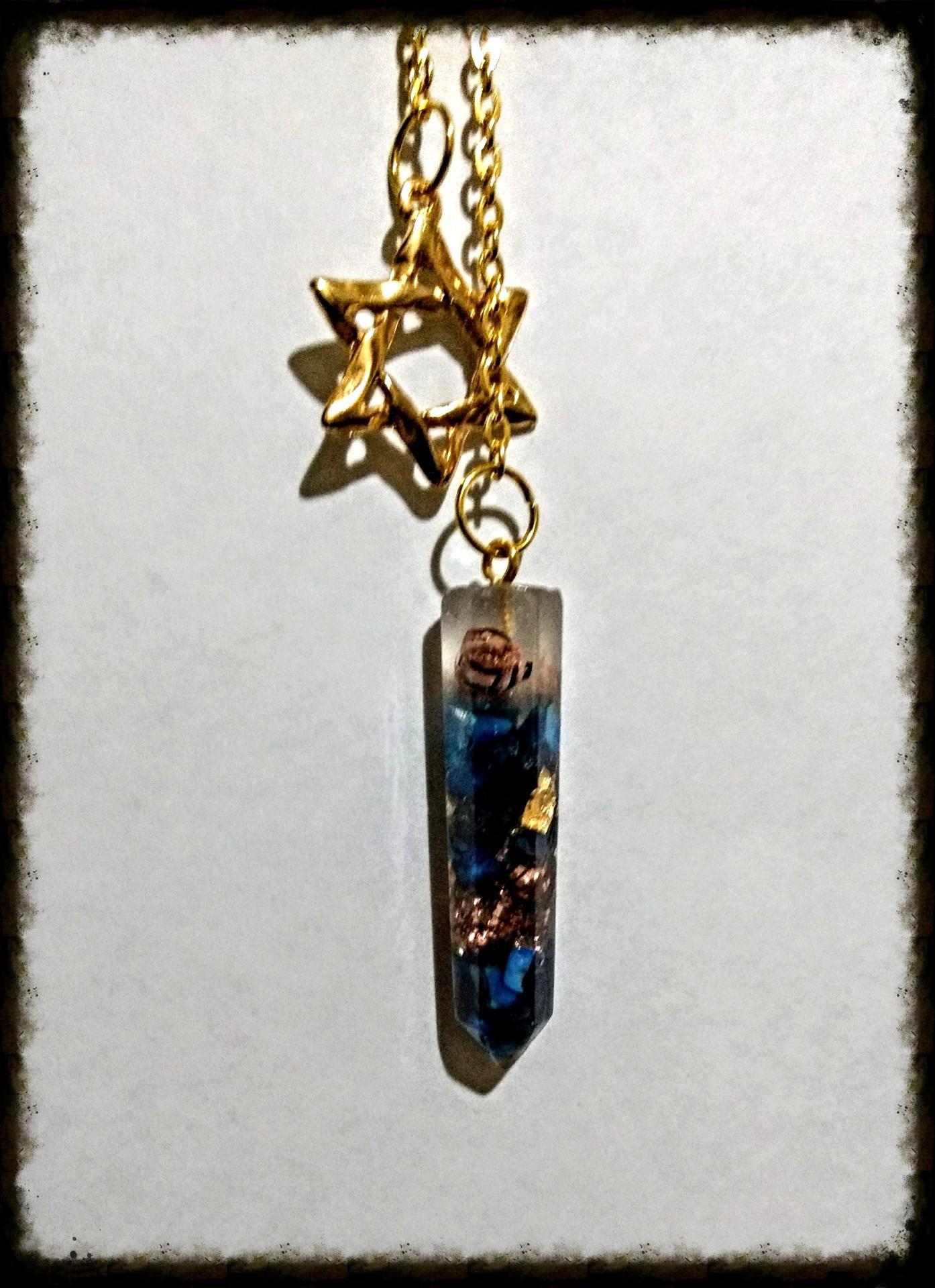 Pendulo Lapizlazuli, Cobre y hojas de Oro