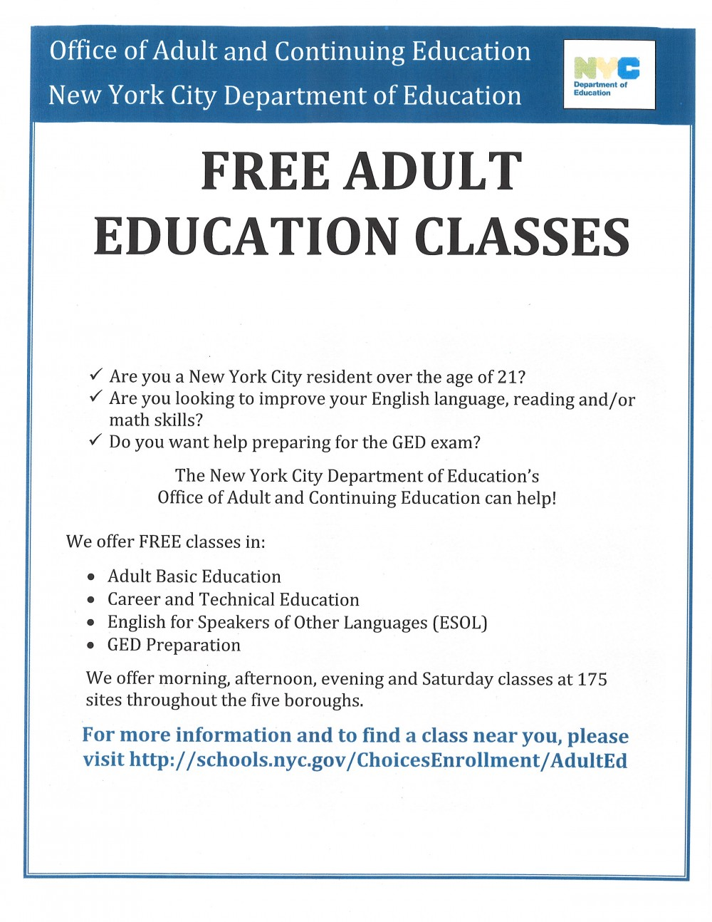 Free adult literacy training