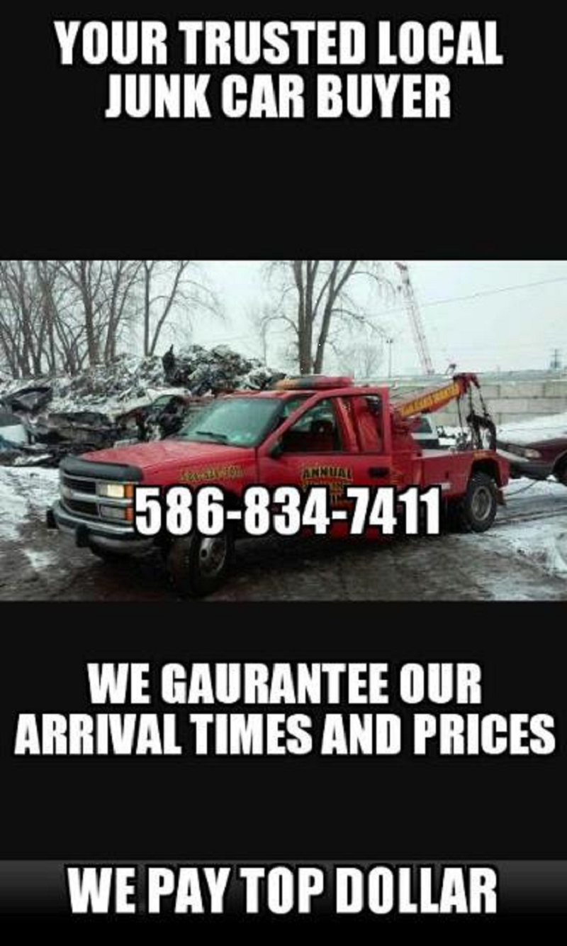 Roseville,Mi-(586) 834-7411-CASH FOR CARS/FREE TOWING