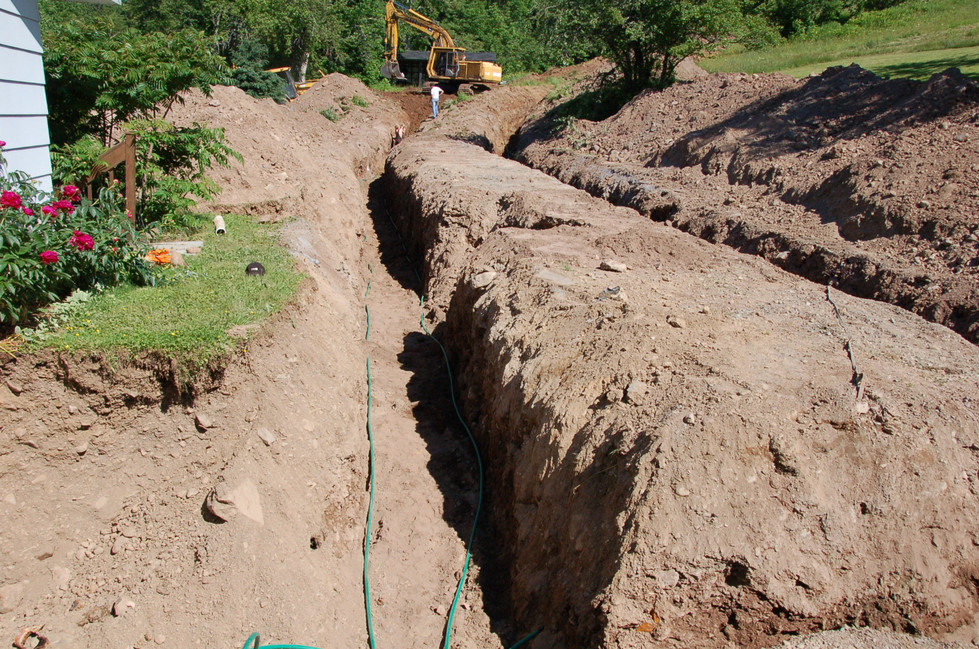 One of four trenches for geothermal heat pump