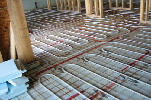Radiant floor heat tubing showing different zones