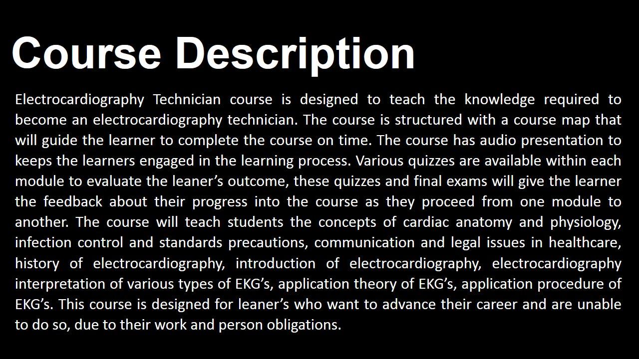 Ekg Technician Online Training Course 249 Only